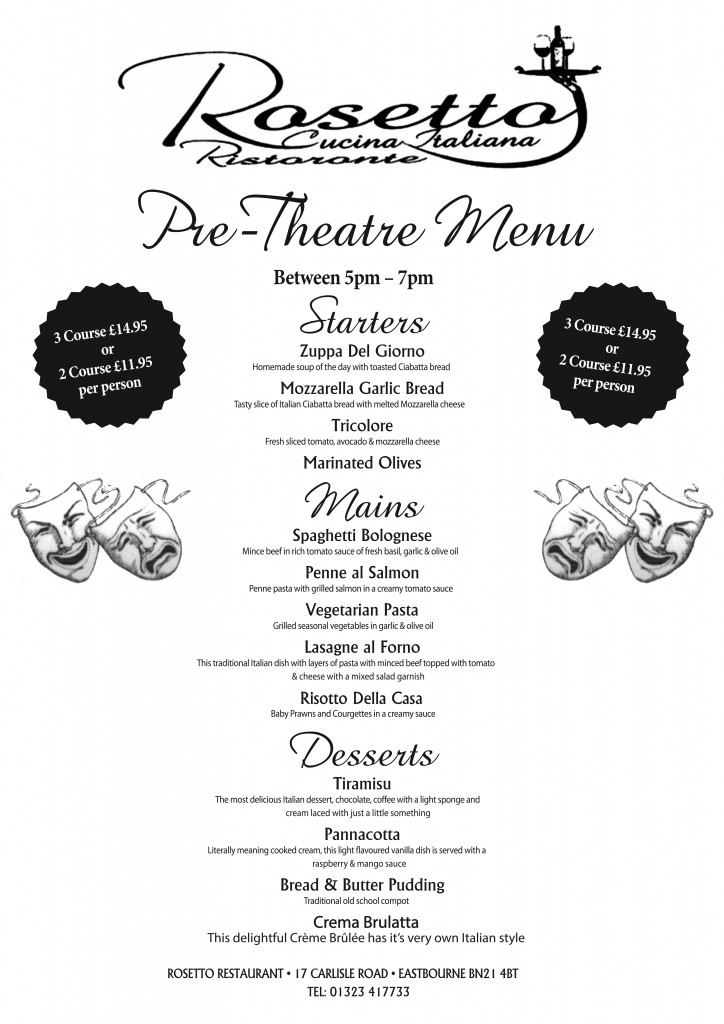 Rosetto Restaurant Eastbourne Menu